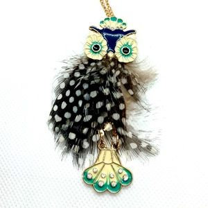 SOLD Spotted Feather Enameled Owl Pendant